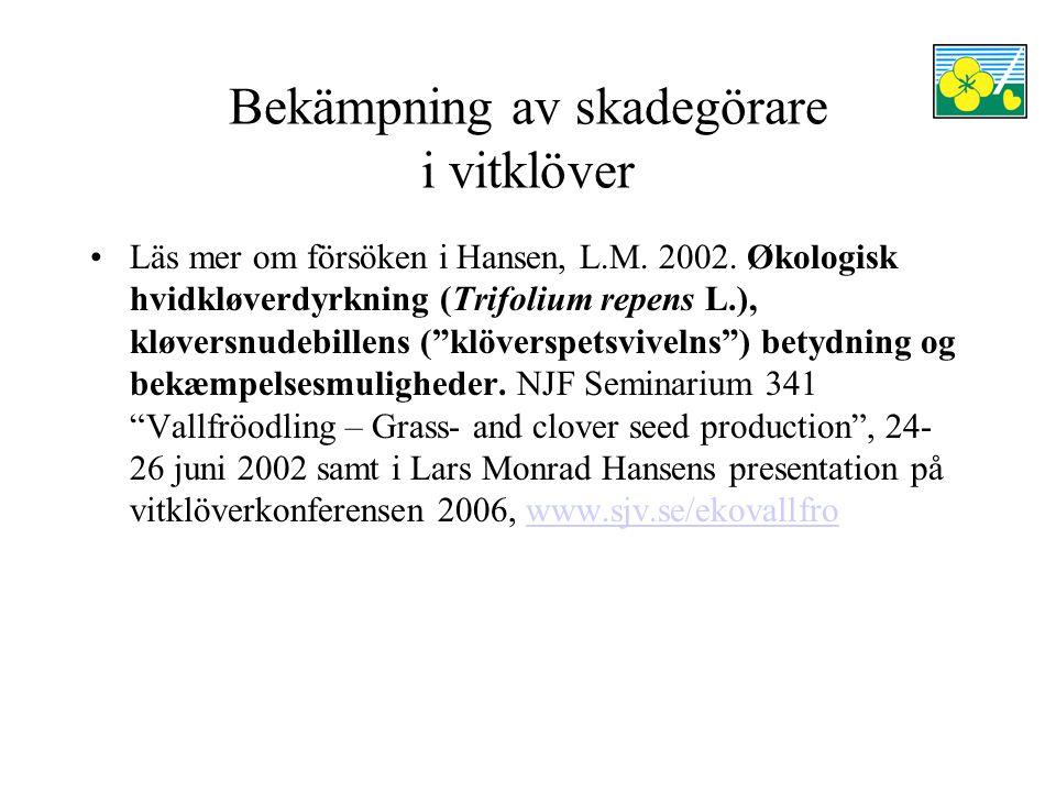 Bekämpning av skadegörare i vitklöver Läs mer om försöken i Hansen, L.M.
