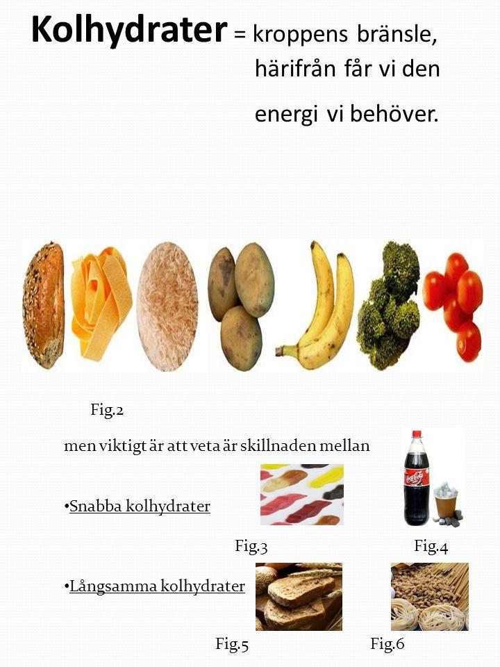 Kolhydrater = kroppens bränsle, härifrån får vi den energi vi behöver. men viktigt är att veta är skillnaden mellan Snabba kolhydrater Fig.3 Fig.4 Lån