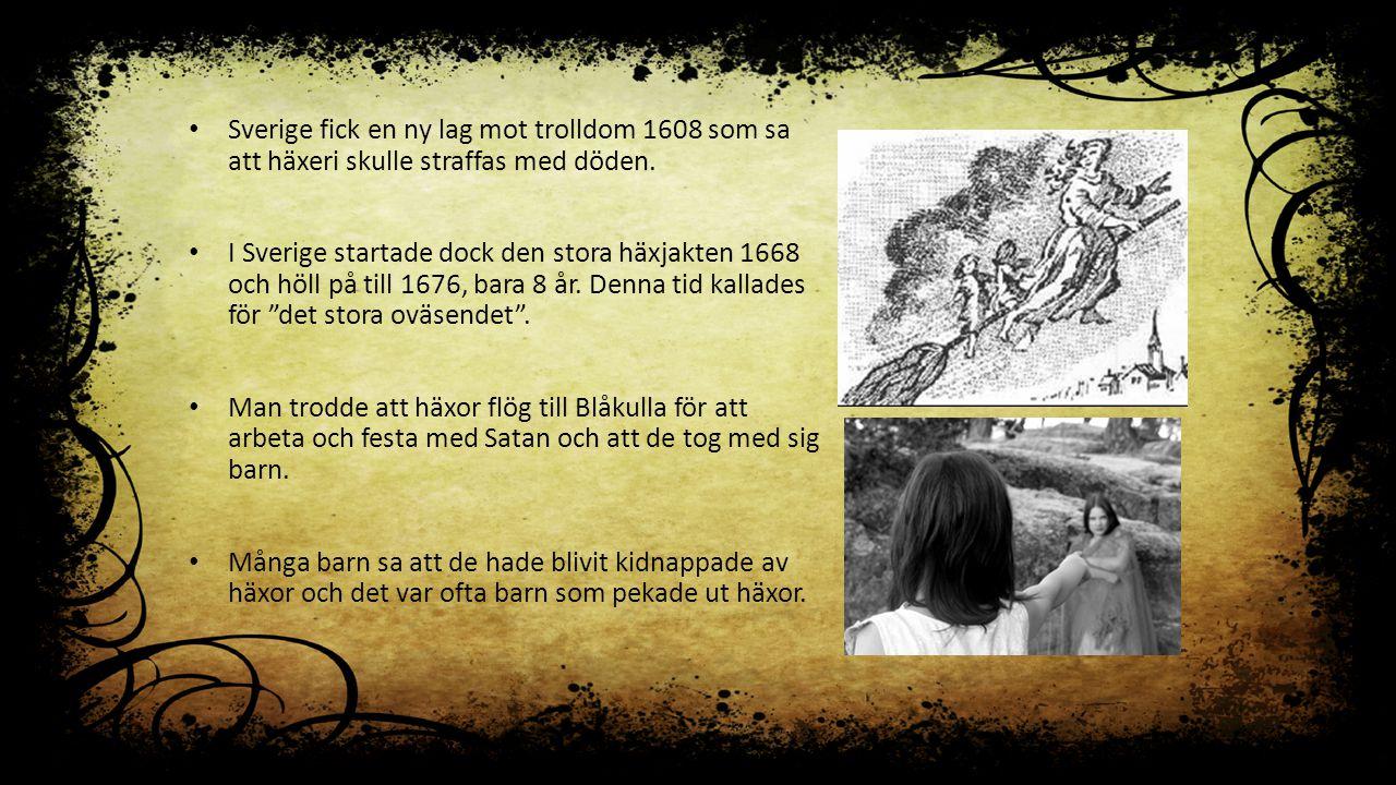 Sverige fick en ny lag mot trolldom 1608 som sa att häxeri skulle straffas med döden. I Sverige startade dock den stora häxjakten 1668 och höll på til