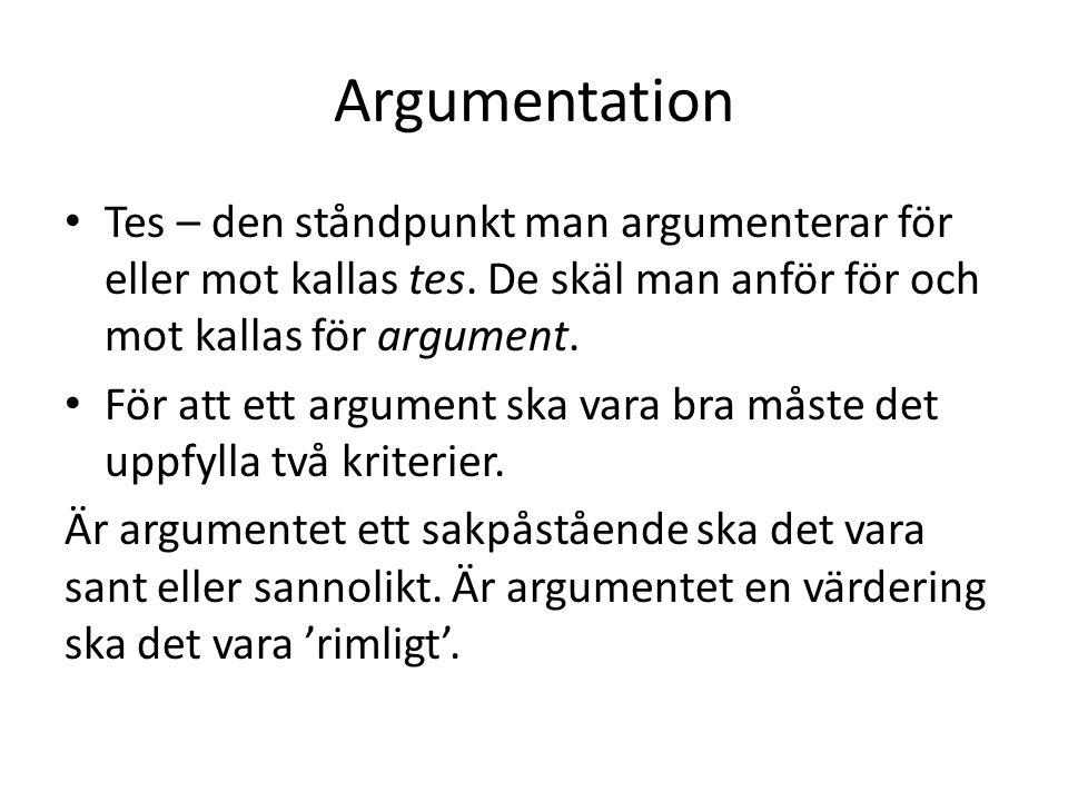 Argumentation Tes – den ståndpunkt man argumenterar för eller mot kallas tes. De skäl man anför för och mot kallas för argument. För att ett argument