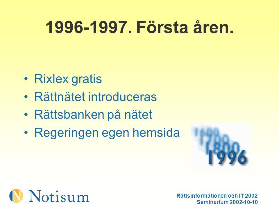 Rättsinformationen och IT 2002 Seminarium 2002-10-10 1998-tidigt 1999.