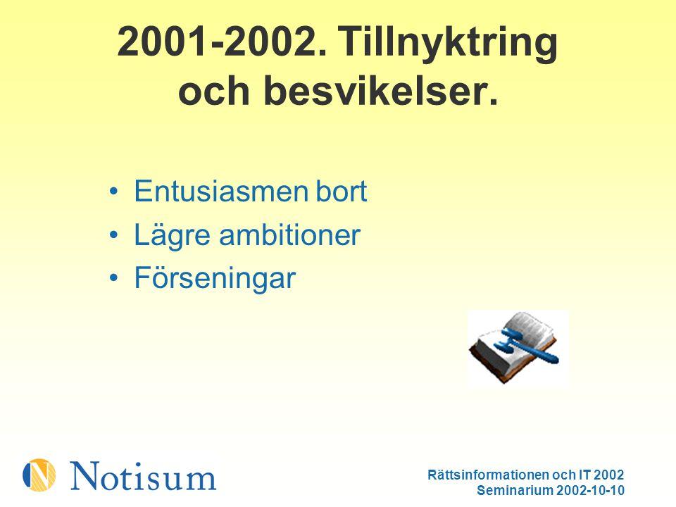 Rättsinformationen och IT 2002 Seminarium 2002-10-10 2001-2002.