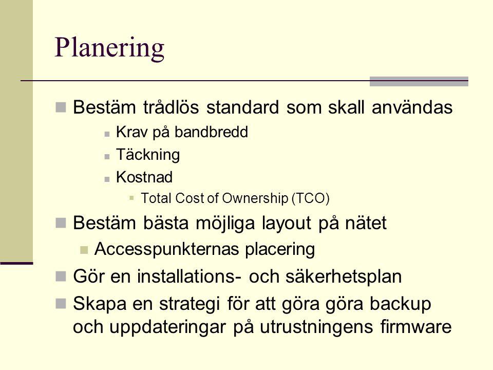 Planering Bestäm trådlös standard som skall användas Krav på bandbredd Täckning Kostnad  Total Cost of Ownership (TCO) Bestäm bästa möjliga layout på