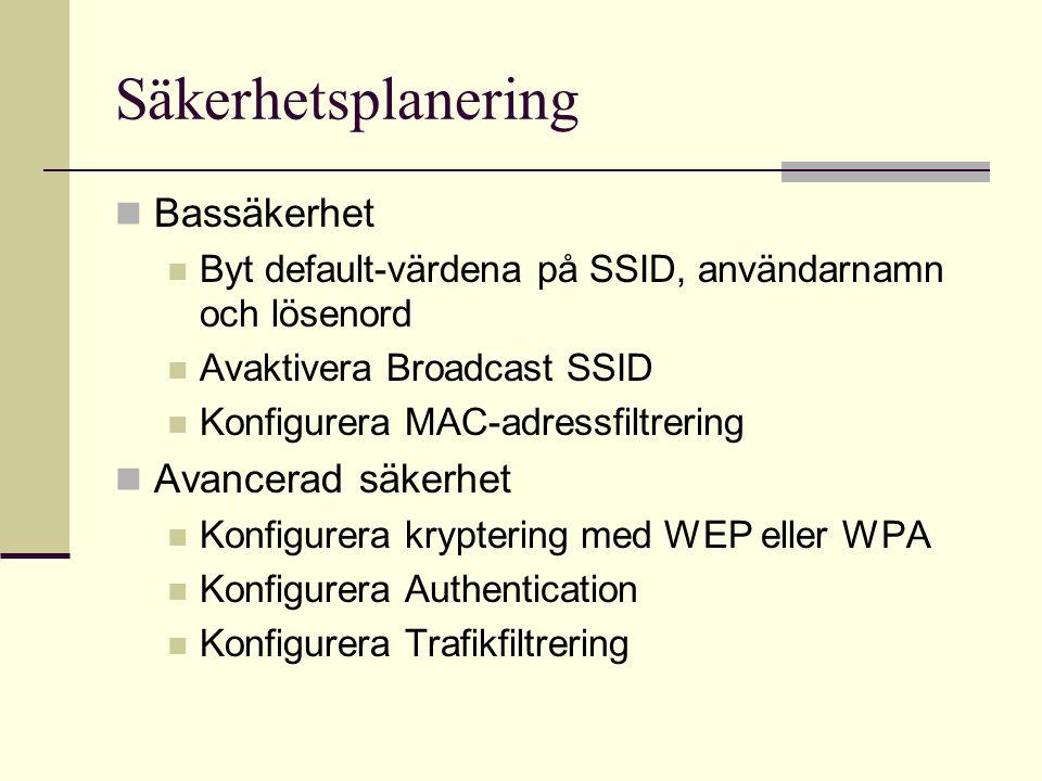 Säkerhetsplanering Bassäkerhet Byt default-värdena på SSID, användarnamn och lösenord Avaktivera Broadcast SSID Konfigurera MAC-adressfiltrering Avanc