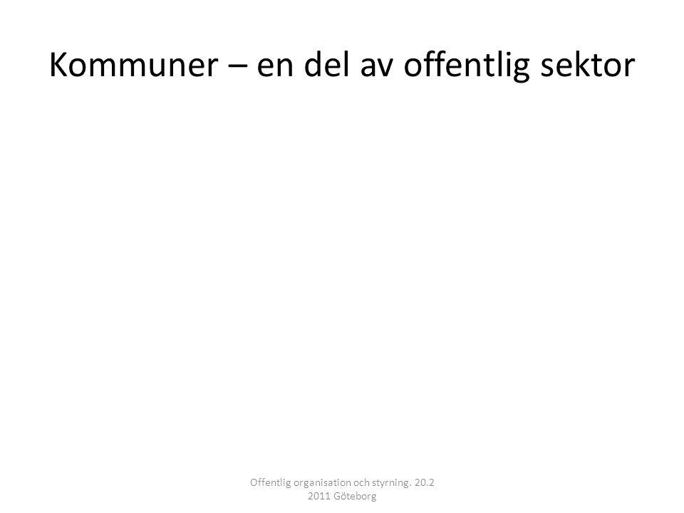 Kommuner – en del av offentlig sektor Offentlig organisation och styrning. 20.2 2011 Göteborg
