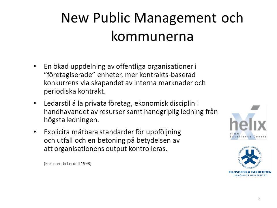 5 New Public Management och kommunerna En ökad uppdelning av offentliga organisationer i företagiserade enheter, mer kontrakts-baserad konkurrens via skapandet av interna marknader och periodiska kontrakt.