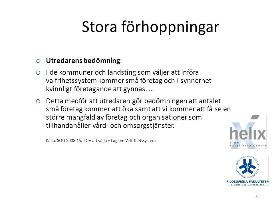 Exempel – Eget val i hemtjänsten i Linköping Offentlig organisation och styrning.