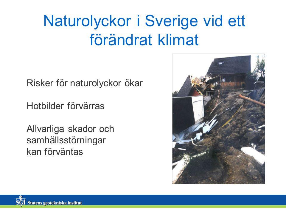 Naturolyckor i Sverige vid ett förändrat klimat Risker för naturolyckor ökar Hotbilder förvärras Allvarliga skador och samhällsstörningar kan förväntas
