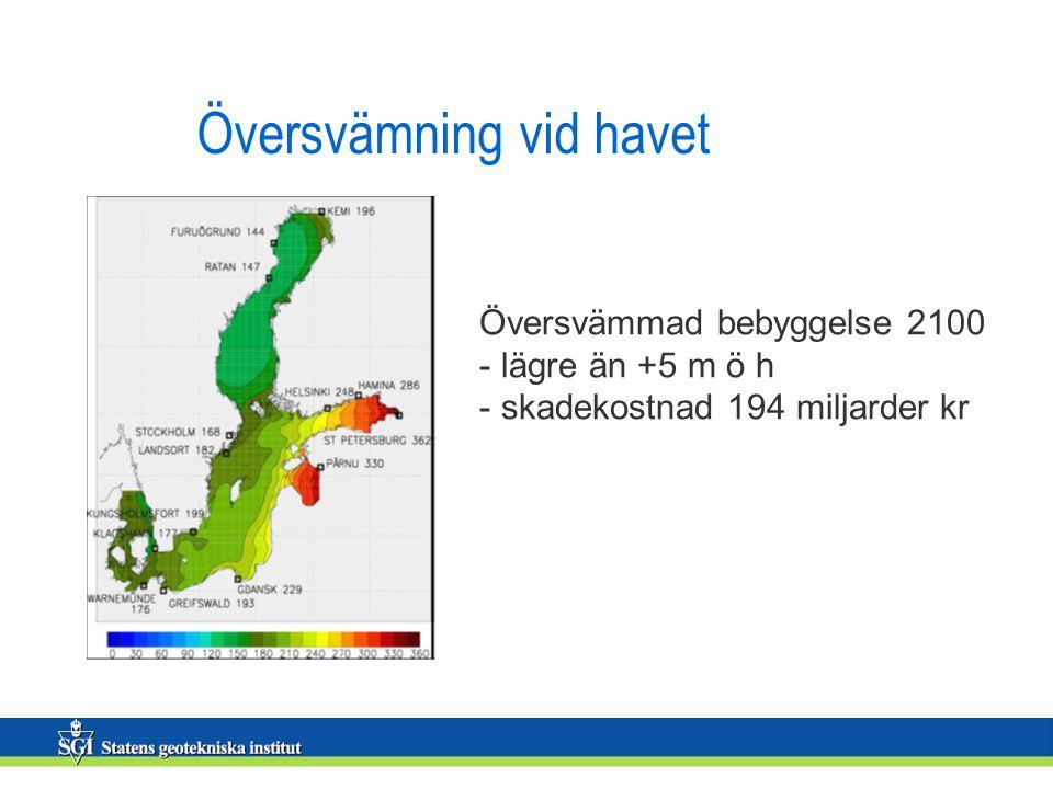 Översvämning vid havet Översvämmad bebyggelse 2100 - lägre än +5 m ö h - skadekostnad 194 miljarder kr