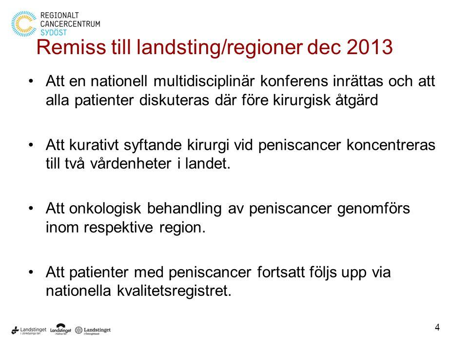 Remiss till landsting/regioner dec 2013 Att en nationell multidisciplinär konferens inrättas och att alla patienter diskuteras där före kirurgisk åtgärd Att kurativt syftande kirurgi vid peniscancer koncentreras till två vårdenheter i landet.