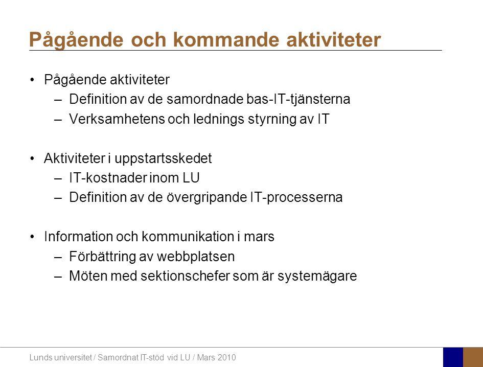 Lunds universitet / Samordnat IT-stöd vid LU / Mars 2010 Vad omfattar projektet?