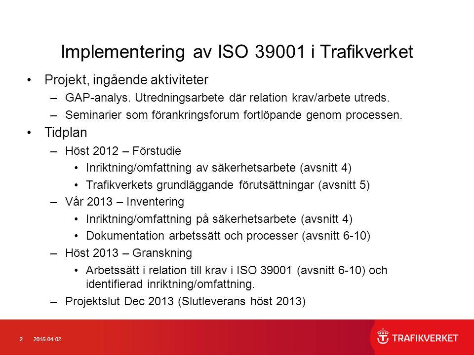 22015-04-02 Implementering av ISO 39001 i Trafikverket Projekt, ingående aktiviteter –GAP-analys. Utredningsarbete där relation krav/arbete utreds. –S