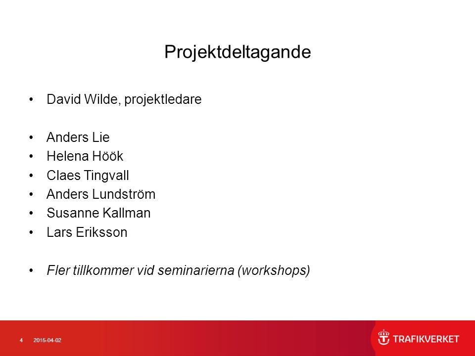 42015-04-02 Projektdeltagande David Wilde, projektledare Anders Lie Helena Höök Claes Tingvall Anders Lundström Susanne Kallman Lars Eriksson Fler til