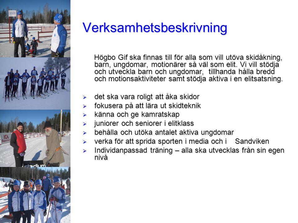 Verksamhetsbeskrivning Högbo Gif ska finnas till för alla som vill utöva skidåkning, barn, ungdomar, motionärer så väl som elit. Vi vill stödja och ut