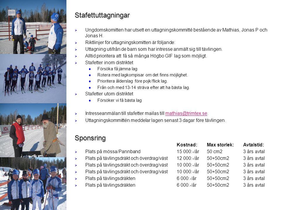Stafettuttagningar   Ungdomskomitten har utsett en uttagningskommitté bestående av Mathias, Jonas P och Jonas H.