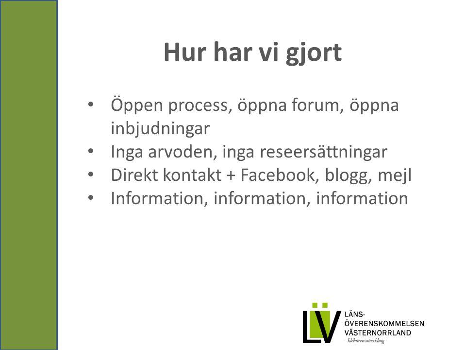 Hur har vi gjort Öppen process, öppna forum, öppna inbjudningar Inga arvoden, inga reseersättningar Direkt kontakt + Facebook, blogg, mejl Information, information, information