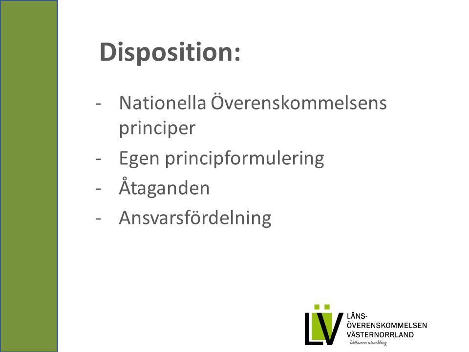 Disposition: -Nationella Överenskommelsens principer -Egen principformulering -Åtaganden -Ansvarsfördelning