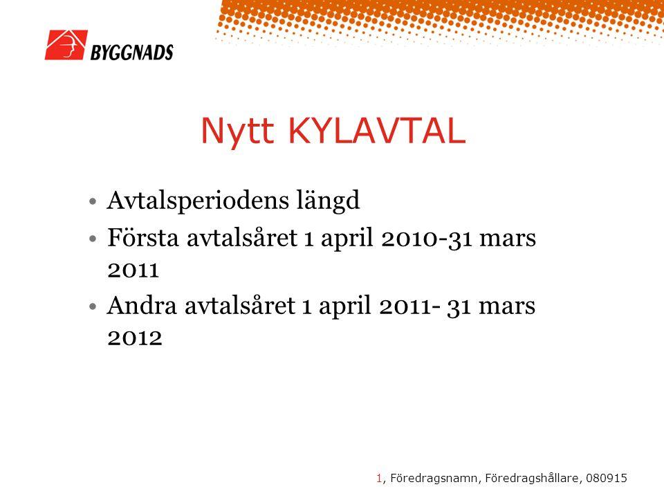 2, Föredragsnamn, Föredragshållare, 080915 Nytt KYLAVTAL Månadslönen höjs den 1 juni 2010 345 kr Månadslönen höjs den 1 april 2011 516 kr Certifikats tillägg 1 juni 2010 0,9% Certifikats tillägg 1 april 2011 1,5 % Totalt tillägg from 1 april 2011 2,4 %