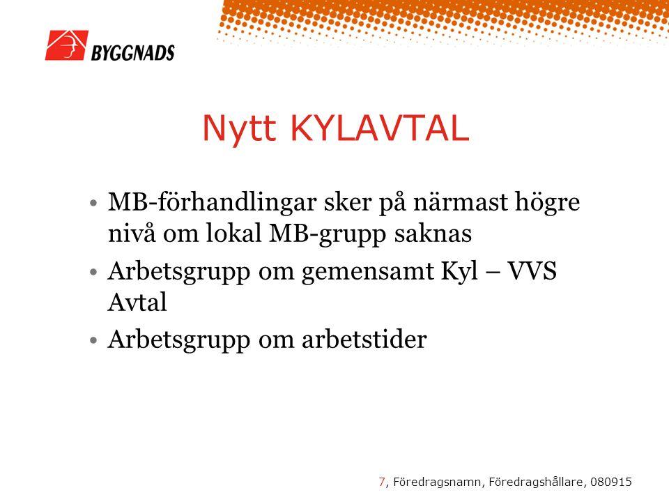 7, Föredragsnamn, Föredragshållare, 080915 Nytt KYLAVTAL MB-förhandlingar sker på närmast högre nivå om lokal MB-grupp saknas Arbetsgrupp om gemensamt Kyl – VVS Avtal Arbetsgrupp om arbetstider