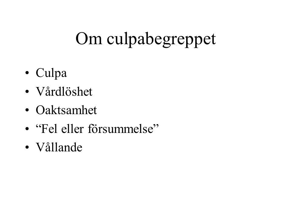 """Om culpabegreppet Culpa Vårdlöshet Oaktsamhet """"Fel eller försummelse"""" Vållande"""