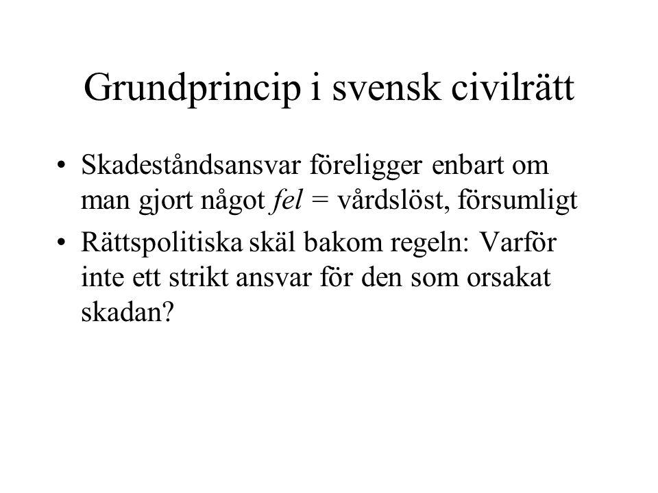 Grundprincip i svensk civilrätt Skadeståndsansvar föreligger enbart om man gjort något fel = vårdslöst, försumligt Rättspolitiska skäl bakom regeln: V