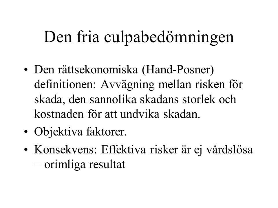 Den fria culpabedömningen Den rättsekonomiska (Hand-Posner) definitionen: Avvägning mellan risken för skada, den sannolika skadans storlek och kostnad