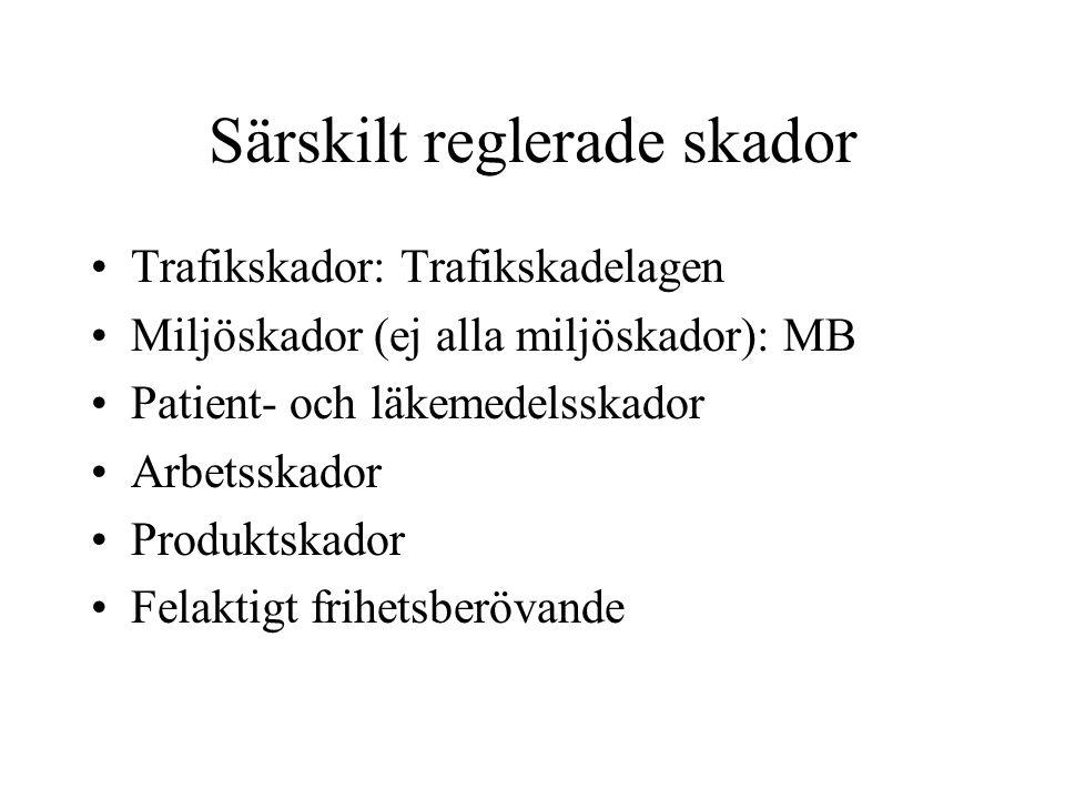 Särskilt reglerade skador Trafikskador: Trafikskadelagen Miljöskador (ej alla miljöskador): MB Patient- och läkemedelsskador Arbetsskador Produktskado
