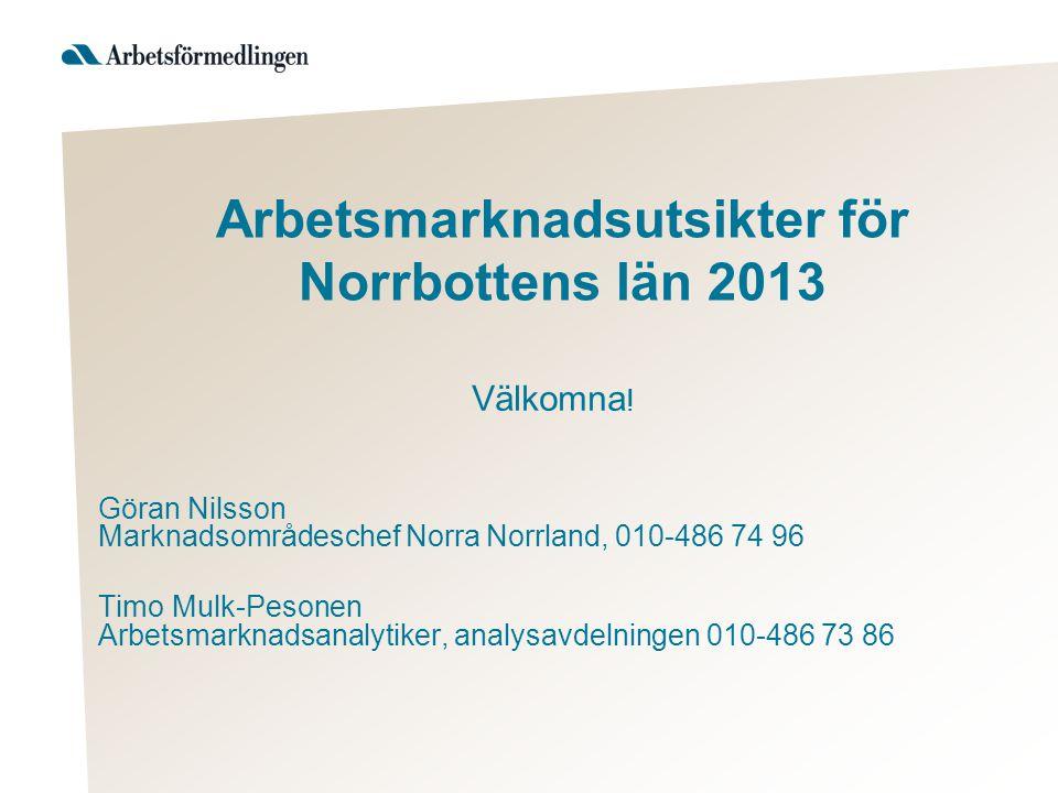 Arbetsmarknadsutsikter för Norrbottens län 2013 Välkomna .