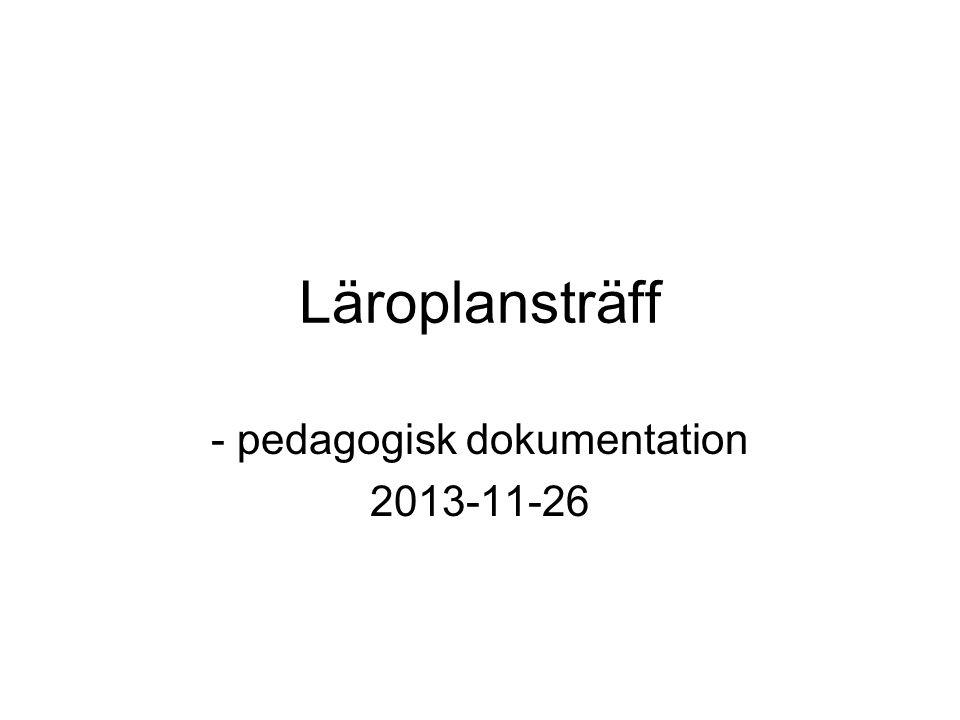 Läroplansträff - pedagogisk dokumentation 2013-11-26