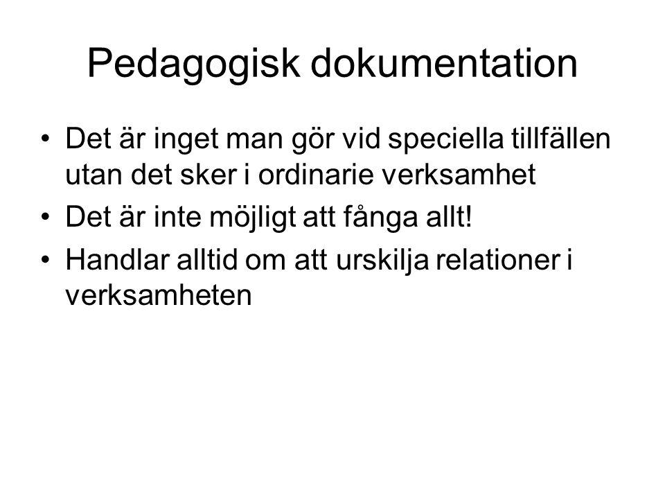 Pedagogisk dokumentation Det är inget man gör vid speciella tillfällen utan det sker i ordinarie verksamhet Det är inte möjligt att fånga allt! Handla