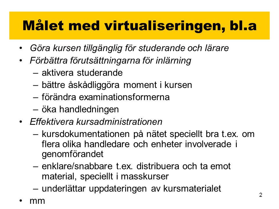 3 Exempel… Hela kursen via nätet (möjliggör distansstudier) Instuderingsfrågor/självrättande test/övningstenter etc.