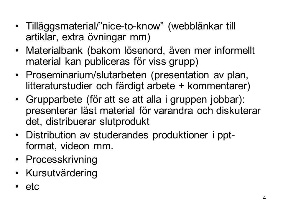 4 Tilläggsmaterial/ nice-to-know (webblänkar till artiklar, extra övningar mm) Materialbank (bakom lösenord, även mer informellt material kan publiceras för viss grupp) Proseminarium/slutarbeten (presentation av plan, litteraturstudier och färdigt arbete + kommentarer) Grupparbete (för att se att alla i gruppen jobbar): presenterar läst material för varandra och diskuterar det, distribuerar slutprodukt Distribution av studerandes produktioner i ppt- format, videon mm.