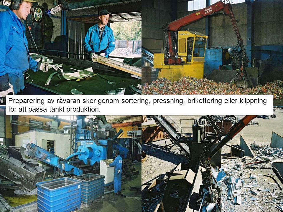 Preparering av råvaran sker genom sortering, pressning, brikettering eller klippning för att passa tänkt produktion.