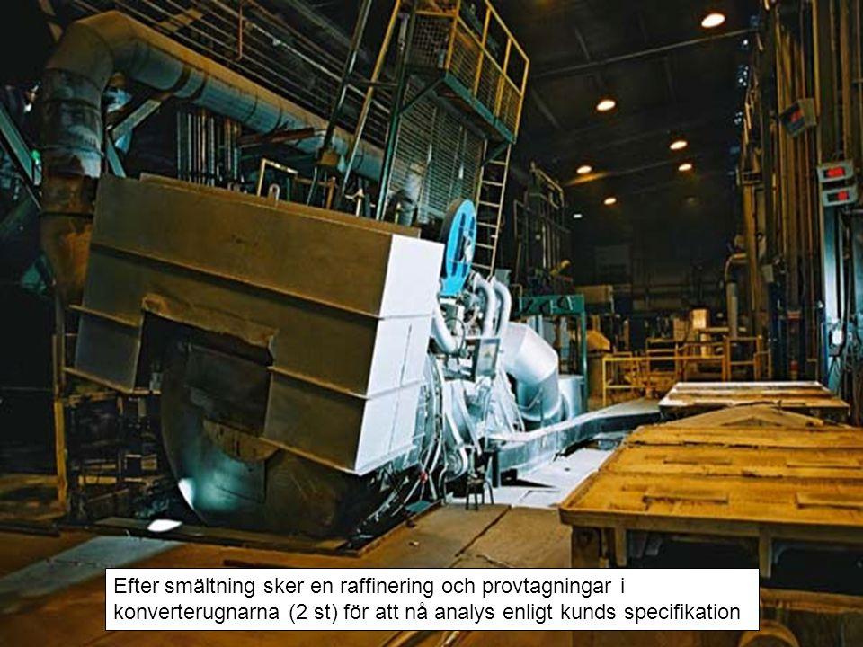 Efter smältning sker en raffinering och provtagningar i konverterugnarna (2 st) för att nå analys enligt kunds specifikation