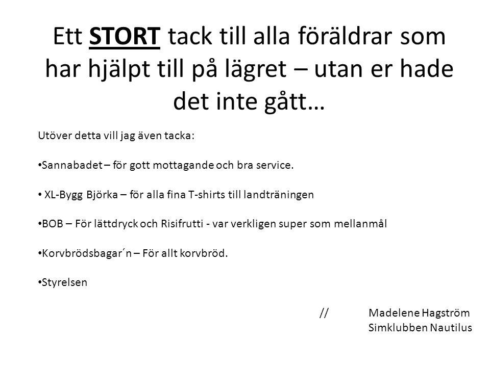 //Madelene Hagström Simklubben Nautilus Ett STORT tack till alla föräldrar som har hjälpt till på lägret – utan er hade det inte gått… Utöver detta vill jag även tacka: Sannabadet – för gott mottagande och bra service.