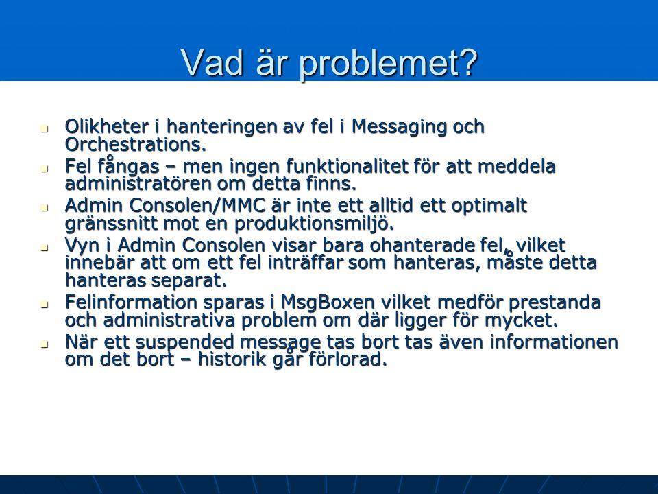 Vad är problemet? Olikheter i hanteringen av fel i Messaging och Orchestrations. Olikheter i hanteringen av fel i Messaging och Orchestrations. Fel få