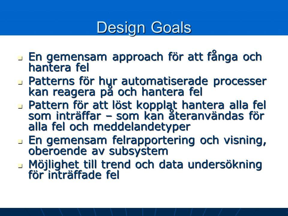 Design Goals En gemensam approach för att fånga och hantera fel En gemensam approach för att fånga och hantera fel Patterns för hur automatiserade processer kan reagera på och hantera fel Patterns för hur automatiserade processer kan reagera på och hantera fel Pattern för att löst kopplat hantera alla fel som inträffar – som kan återanvändas för alla fel och meddelandetyper Pattern för att löst kopplat hantera alla fel som inträffar – som kan återanvändas för alla fel och meddelandetyper En gemensam felrapportering och visning, oberoende av subsystem En gemensam felrapportering och visning, oberoende av subsystem Möjlighet till trend och data undersökning för inträffade fel Möjlighet till trend och data undersökning för inträffade fel