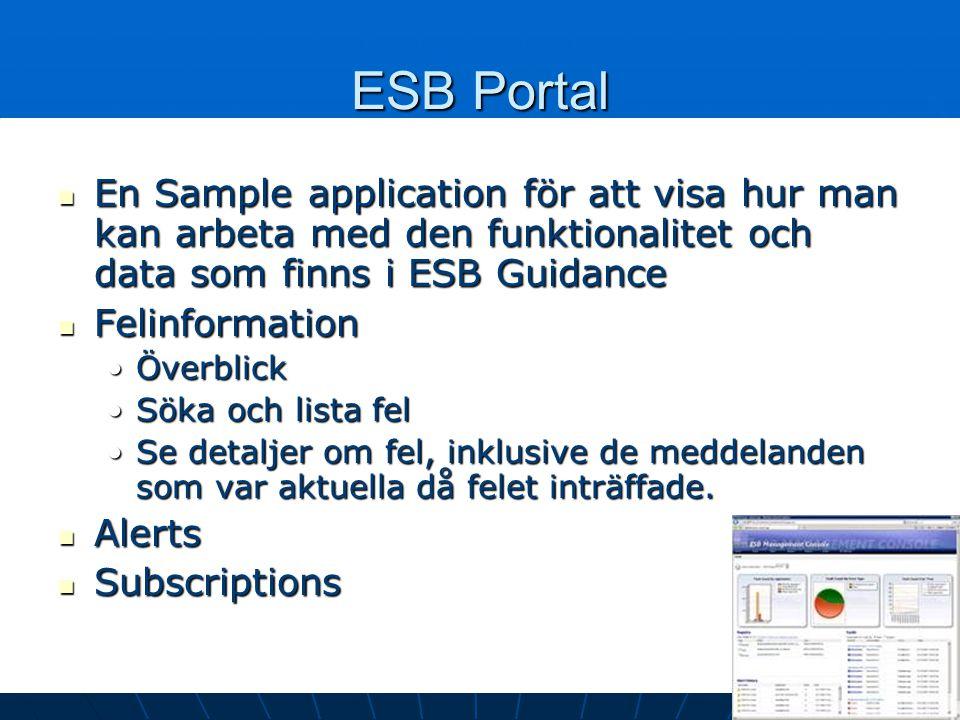 ESB Portal En Sample application för att visa hur man kan arbeta med den funktionalitet och data som finns i ESB Guidance En Sample application för att visa hur man kan arbeta med den funktionalitet och data som finns i ESB Guidance Felinformation Felinformation ÖverblickÖverblick Söka och lista felSöka och lista fel Se detaljer om fel, inklusive de meddelanden som var aktuella då felet inträffade.Se detaljer om fel, inklusive de meddelanden som var aktuella då felet inträffade.