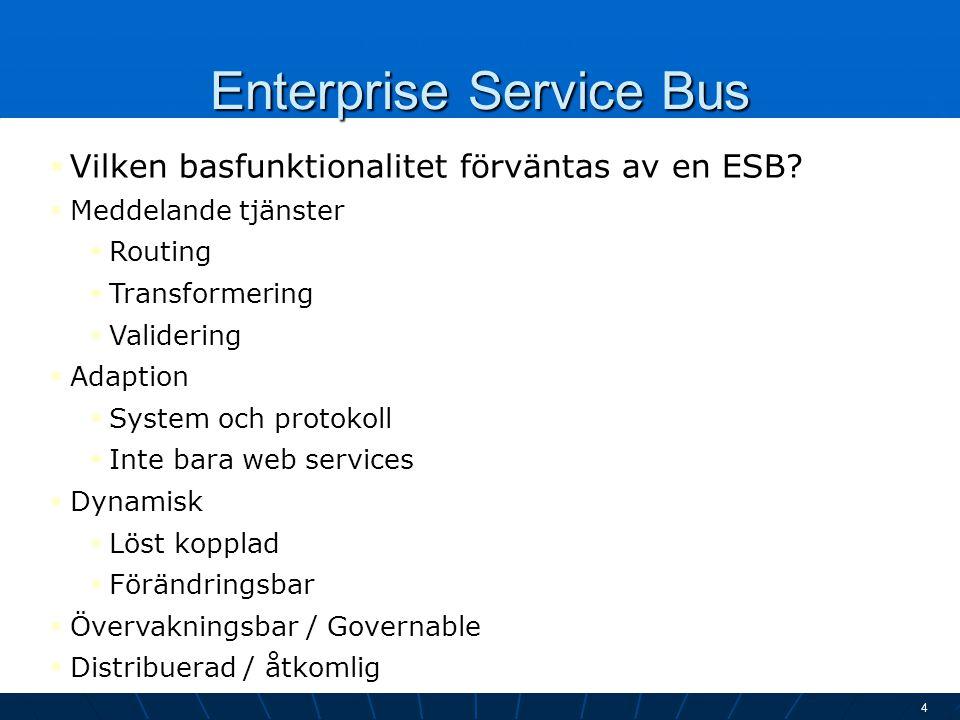 Enterprise Service Bus 4  Vilken basfunktionalitet förväntas av en ESB?  Meddelande tjänster  Routing  Transformering  Validering  Adaption  Sy