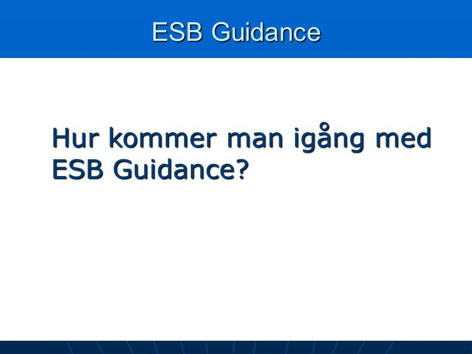 ESB Guidance Hur kommer man igång med ESB Guidance