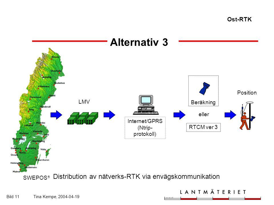 Ost-RTK Bild 11Tina Kempe, 2004-04-19 Alternativ 3 SWEPOS  LMV Position Beräkning eller RTCM ver 3 Internet/GPRS (Ntrip- protokoll) Distribution av nätverks-RTK via envägskommunikation