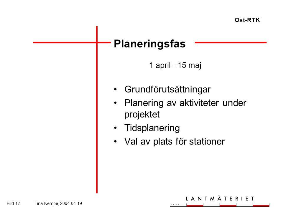 Ost-RTK Bild 17Tina Kempe, 2004-04-19 Planeringsfas 1 april - 15 maj Grundförutsättningar Planering av aktiviteter under projektet Tidsplanering Val av plats för stationer