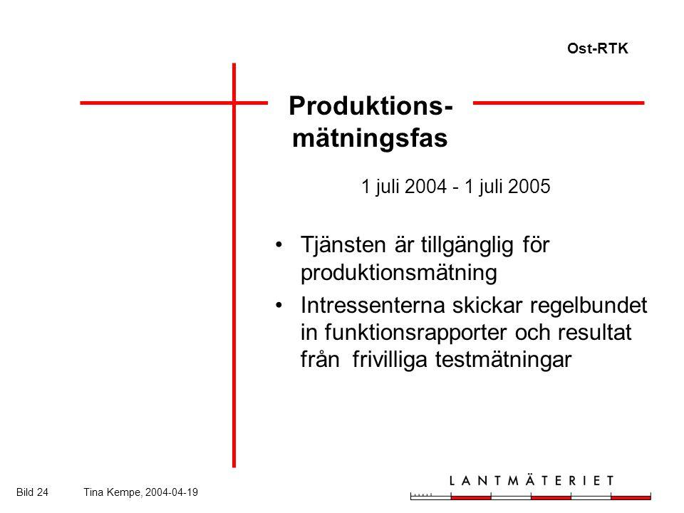 Ost-RTK Bild 24Tina Kempe, 2004-04-19 Produktions- mätningsfas 1 juli 2004 - 1 juli 2005 Tjänsten är tillgänglig för produktionsmätning Intressenterna skickar regelbundet in funktionsrapporter och resultat från frivilliga testmätningar
