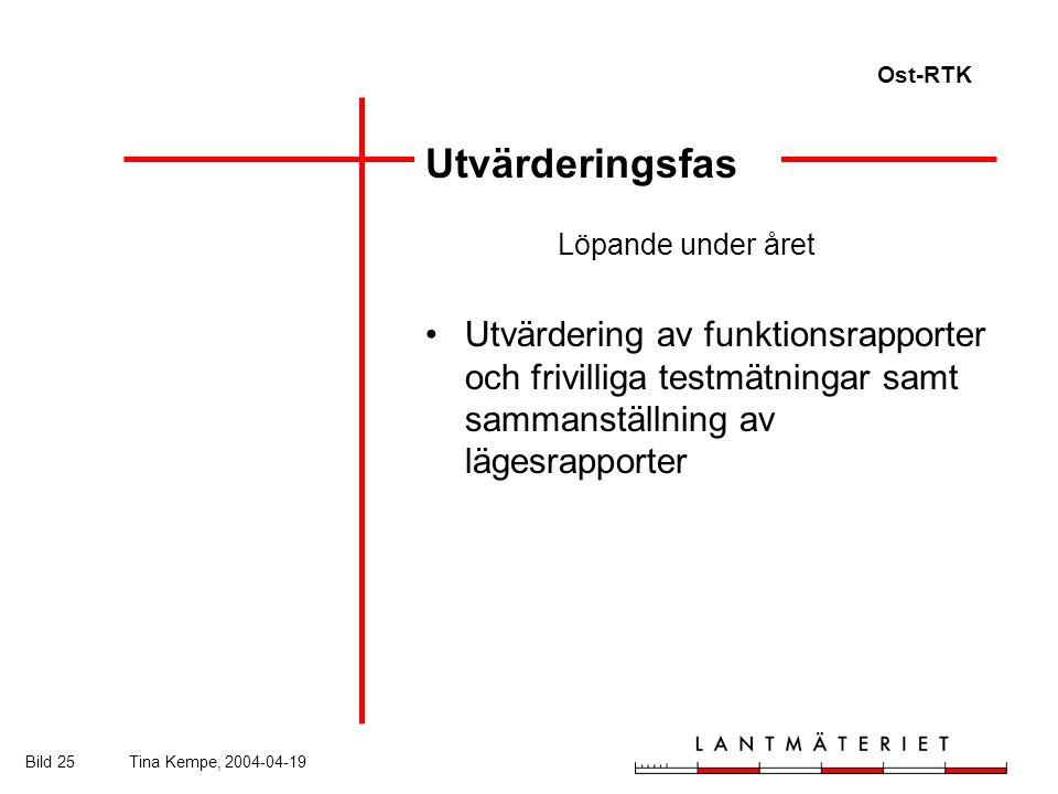 Ost-RTK Bild 25Tina Kempe, 2004-04-19 Utvärderingsfas Löpande under året Utvärdering av funktionsrapporter och frivilliga testmätningar samt sammanställning av lägesrapporter