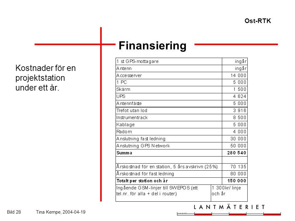 Ost-RTK Bild 28Tina Kempe, 2004-04-19 Finansiering Kostnader för en projektstation under ett år.