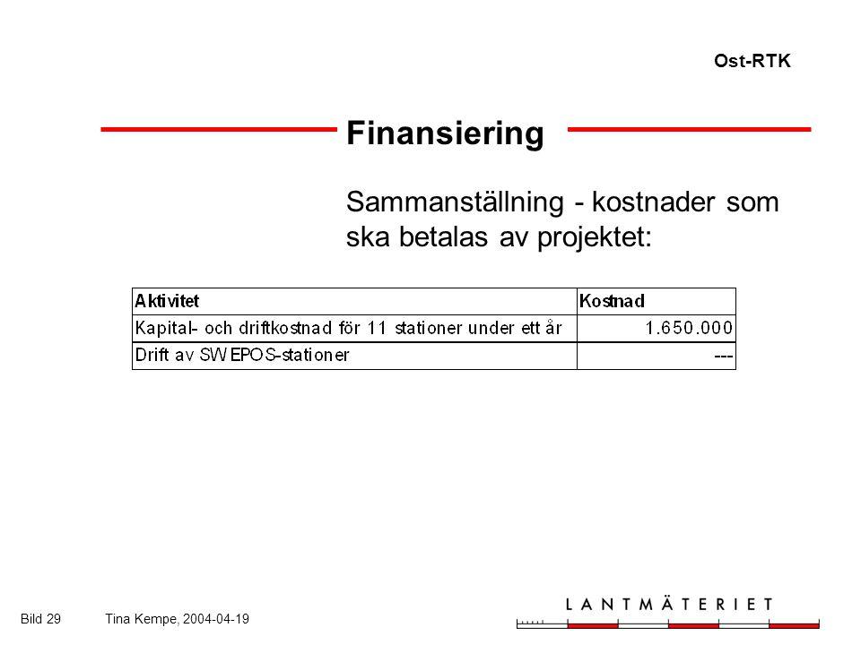 Ost-RTK Bild 29Tina Kempe, 2004-04-19 Finansiering Sammanställning - kostnader som ska betalas av projektet: