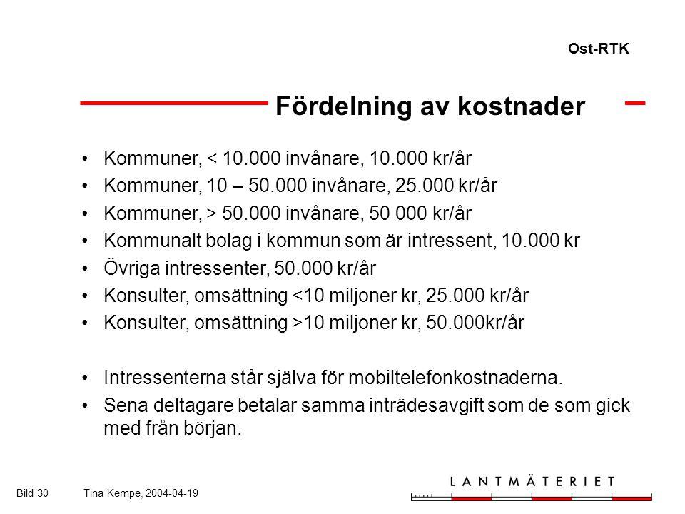Ost-RTK Bild 30Tina Kempe, 2004-04-19 Kommuner, < 10.000 invånare, 10.000 kr/år Kommuner, 10 – 50.000 invånare, 25.000 kr/år Kommuner, > 50.000 invånare, 50 000 kr/år Kommunalt bolag i kommun som är intressent, 10.000 kr Övriga intressenter, 50.000 kr/år Konsulter, omsättning <10 miljoner kr, 25.000 kr/år Konsulter, omsättning >10 miljoner kr, 50.000kr/år Intressenterna står själva för mobiltelefonkostnaderna.