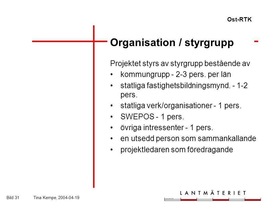 Ost-RTK Bild 31Tina Kempe, 2004-04-19 Organisation / styrgrupp Projektet styrs av styrgrupp bestående av kommungrupp - 2-3 pers.