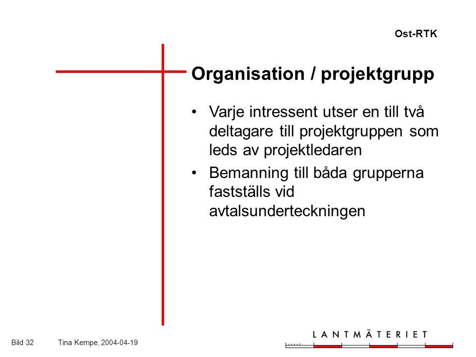 Ost-RTK Bild 32Tina Kempe, 2004-04-19 Organisation / projektgrupp Varje intressent utser en till två deltagare till projektgruppen som leds av projektledaren Bemanning till båda grupperna fastställs vid avtalsunderteckningen
