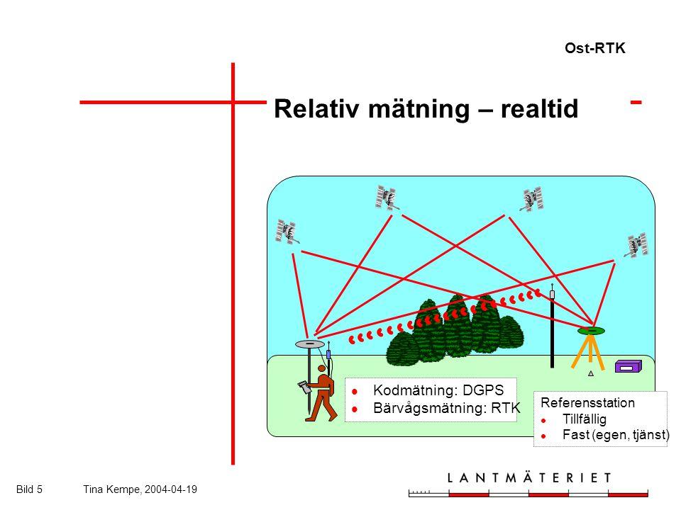 Ost-RTK Bild 5Tina Kempe, 2004-04-19 Relativ mätning – realtid Referensstation Tillfällig Fast (egen, tjänst) Kodmätning: DGPS Bärvågsmätning: RTK